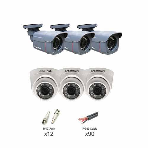 دوربین مداربسته آنالوگ ویزیترون مدل AIN_340ZF_368XG مجموعه 6 عددی